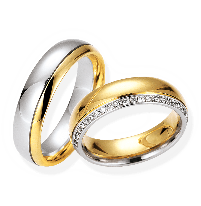 Eheringe aus Platin und Silber