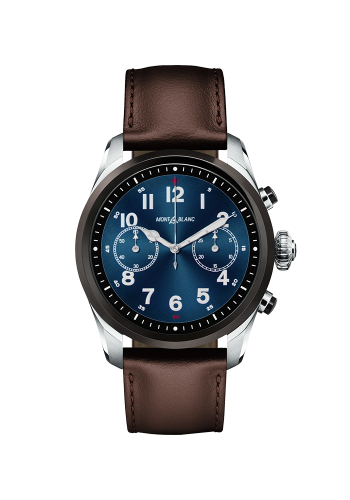 Montblanc Summit 2 Stainless Steel and Black Bi-color and Leather 119439 bei Juwelier Spinner